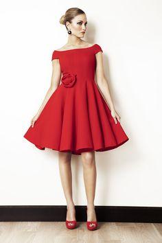 Rosa Blasco Vestido corto crepe rojo