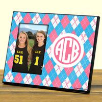 """Our 8"""" X 10"""" lacrosse photo frame features a 4"""" X 6"""" opening to fit a photo/medal of your choice and then a customized area for personalized text."""