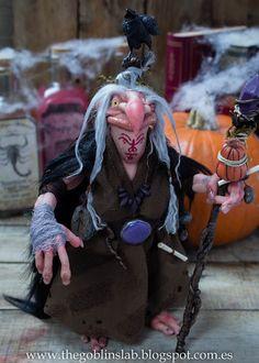 Halloween. Special. Polymer Clay Art. Witch Doll. Handmade. One of a Kind. Criaturas Mágicas de Fantasía hechas a mano, por el artista plástico Moisés Espino. The Goblin´s Lab. Madrid, España. Criaturas de leyenda 100% hechas a mano y alimentadas en casa. Duendes, Hadas, Trolls, Goblins, Brownies, Fairies, Elfs, Gnomes, Pixies.... LINKS del artista: http://thegoblinslab.blogspot.com.es/ https://www.etsy.com/shop/GoblinsLab http://goblinslab.deviantart.com/