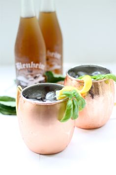 Peach Basil Moscow Mule. #Cocktail #Recipe #MoscowMule