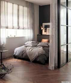 Best Inspiration Minimalist Home Curtains for Beautiful Residential Studio Apartment Design, Studio Apartment Decorating, Minimalist Studio Apartment, Warm Bedroom, Home Bedroom, Modern Bedroom, Master Bedroom, Contemporary Bedroom, Bedroom Wall