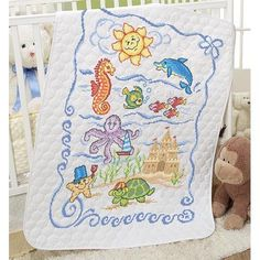 Herrschners/® Pre-Quilted Seaside Friends Baby Quilt Stamped Cross-Stitch Kit