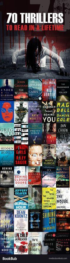 Reading challenge: 70 thrillers to read in a lifetime. Including a great list of scary books for Halloween, horror books, suspenseful psychological thrillers, and more.