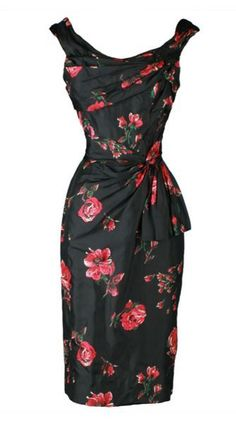 Bombshell Cintage 1950's Ceil Chapman Cocktail Dress ♦ Curve-hugging black silk with red floral print