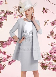 Sheath/Column Scoop Neck Knee-Length Beading Appliques Lace Satin Zipper Up Sleeves Short Sleeves Yes Silver Spring Winter General Mother of the Bride Dress