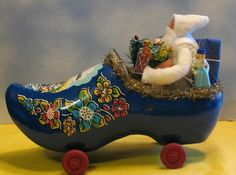 Handmade Lovely Wooden Shoe Vehicle from Holland with Santa