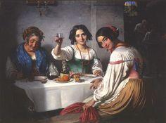 Marstrand, Wilhelm (b,1810)- Woman Raising Glass to Man w Asleep Chaperon (Roman Osteria), 1847