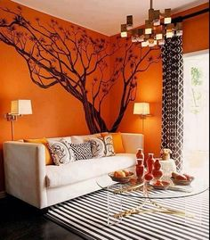 Brown and orange Living Room Design. Brown and orange Living Room Design. orange Walls with Brown & Tan Furniture & Hardwood Floors Living Room Paint, Living Room Decor, Living Rooms, Decor Room, Living Area, Living Spaces, Mary Mcdonald, Interior Modern, Interior Design