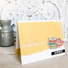 Check out this sweet and simple happiness card that you can make from any supplies you have! Just Ink, Sewing Cards, Alcohol Markers, Subtle Textures, Color Card, Embossing Folder, Free Paper, Diy Craft Projects, Greeting Cards Handmade