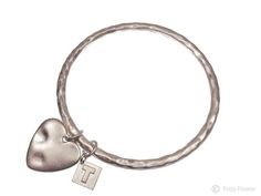 Tutti & Co textured silver bangle with heart