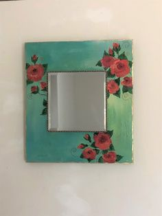 Shabby chic floral bedroom mirror, country cottage wall decor, re cycled hand painted mirror, functional art, boho chic square roses mirror Shabby Chic Table Lamps, Shabby Chic Wall Decor, Mirror Painting, Painting On Wood, Cottage Mirrors, Painted Wood, Hand Painted, Floral Bedroom, Ethnic Decor
