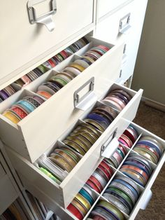 Recollection cubes from michaels that I store my ribbon spools in.