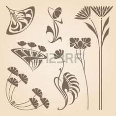 art nouveau pattern: Vector set of vintage art nouveau design elements.