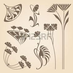art nouveau pattern: Vector set of vintage art nouveau design elements.