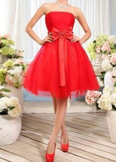 2013 Cute Strapless Short Dress Summer Dresses Online, Red Summer Dresses, Love Fashion, Girl Fashion, Top Mode, Strapless Dress Formal, Formal Dresses, One Piece Dress, Dress P