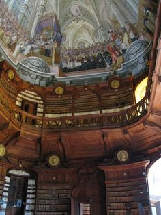 Interior and ceiling of the Lyceum Library in Eger, Hungary, Europe Places To See, Places To Travel, Beautiful Library, Beautiful Buildings, Architecture Details, Amazing Art, Travel Photos, National Parks, Around The Worlds