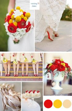 Possible color palette for late spring/early summer wedding.    Yellow, Red, & Champagne Wedding Palette