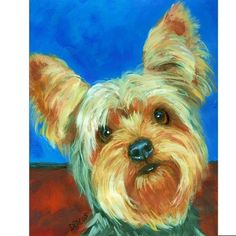 YORKSHIRE TERRIER, YORKIE, WITH A BRIGHT SMILING FACE  DOG ART PRINT FROM ORIGINAL PAINTING BY DOTTIE DRACOS MULTIPLE SIZES/STYLES AVAILABLE