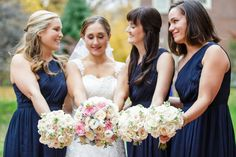 Bride and bridesmaids portrait showcasing their bouquets  | Pennsylvania Wedding Photography Ashley Gerrity Photography