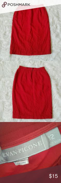 70s Vintage Red Pencil Skirt Thick double layered pencil skirt. 70s Vintage. Has pockets. No stretch.   100% Worsted Wool  Brand: Evan Pick me Size: tag says 12. Condition: absolutely no flaws. Perfect vintage condition.  #vintage #vintagepencikskirt #vintageskirt #pencilskirt #skirt #bundleandsave #xoxopf #fashion #style #cheap #styleforcheap #vintagefashion Vintage Skirts Pencil