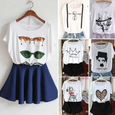 Women Loose Casual White Printed Round Collar Tops Tees Short Sleeve T-shirts