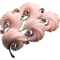 Lisner Pink Thermoset Feather & Rhinestone Brooch