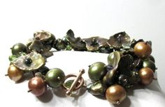 Natural Freshwater Cultured Pearl Bracelet with Faceted by dbsj