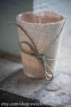 burlap wrapped votive candle holder