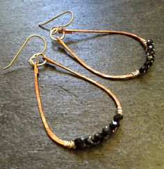 Large Hammered Copper Sterling Silver Hoops Rop by onesweetpeach