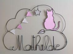 Prénom en fil de fer personnalisable thème chat : Autres bébé par lespetitscadeauxdecat