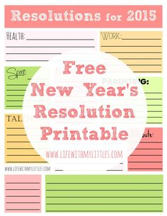 free 2015 new years resolution printable includes categories like health work spirit