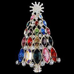 Vintage Style Swarovski Crystal Snowflake Christmas Tree