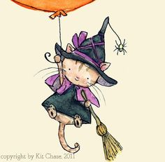 Witch's Flight  -- Halloween Art Print  -- a witch-cat and jack-o-lantern balloon by trafalgarssquare
