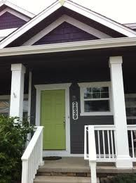 exterior house color eggplant - with bright green door. House Paint Exterior, Exterior Paint Colors, Exterior House Colors, Paint Colors For Home, Exterior Doors, Cottage Exterior, House Siding, Bright Front Doors, Green Front Doors