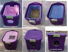 Easy houses for my outdoor kitties. I had seen an article on these before but this pictorial is great