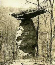 The Jug Rock, in Shoals, Indiana, is the largest free-standing table rock formation in the US, east of the Mississippi.