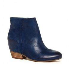 """Sole Society's """"Charlotte"""" Bootie    3 Inch Hidden Wedge Leather Bootie in Washed Navy"""