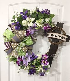 Easter Wreath, Floral Easter Wreath, Grapevine Wreath, Easter Grapevine, He Has Risen, Cross Wreath, Easter Decor, Spring Decor, Cross Decor by CharmingBarnBoutique on Etsy
