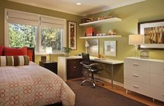 Guest bedroom - home office. layout might work for our guest room/office/craft room. Guest Bedroom Home Office, Bedroom Office Combo, Bedroom Corner, Home Bedroom, Guest Room, Corner Desk, Bedroom Ideas, Bedroom Photos, Bedroom Furniture