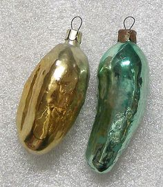 2 Vintage Glass USSR Soviet Christmas Ornaments - Pickles