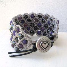 Bohemian Style Purple and grey Cuff Bracelet thick by GlowCreek, $42.00