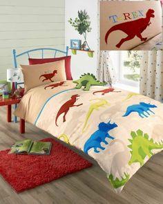 Beige Dinosaur Boys Single Duvet Cover Bed Set Kids Bedding by Homespace Direct, http://www.amazon.co.uk/dp/B00GZOA4B0/ref=cm_sw_r_pi_dp_wIvxtb02A0NXP