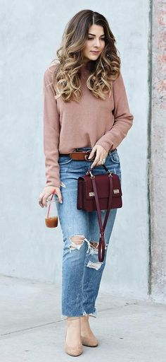 Tan Turtleneck + Burgundy Shoulder Bag
