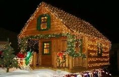 love  the  christmas house  décor and how  everything  is  lit  up  and decorated.