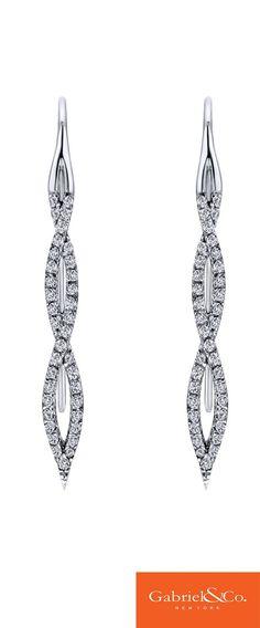 Elegance redefined ... 14k White Gold Diamond Drop Earrings | Gabriel & Co. Earrings | Diamond Wedding Earrings
