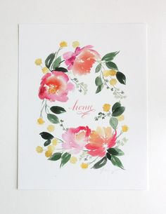 Flower Wreath Home Watercolor Art Print by YaoChengDesign on Etsy