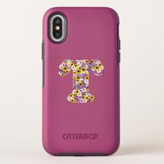 Monogram letter T OtterBox Symmetry iPhone X Case - flowers floral flower design unique style