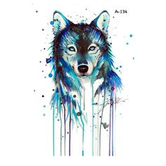 WYUEN Hot Design Wolf Temporary Tattoo for Adult Men Waterproof Watercolor Tattoo Sticker Women Fake Body Art A-134