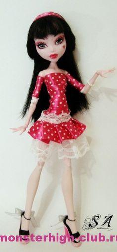 Платье в горошек для Дракулауры | Monster High Club (Satin Ribbon & Lace Dress pattern)