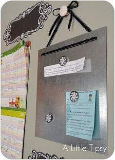 buy sheet & knob @ Home Depot , cut with craft gator, add ribbon.     paper organization and command station